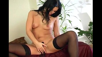 Black satin gloves, nylon stockings & champange