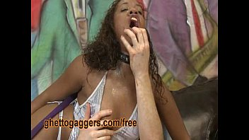 Hot ebony chick gets a taste of white chocolate cock